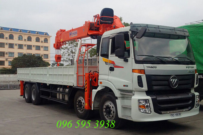 xe tải auman 4 chân gắn cẩu kanglim 10 tấn
