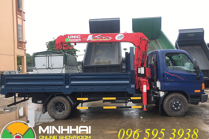 hyundai hd700 gắn cẩu unic 3 tấn