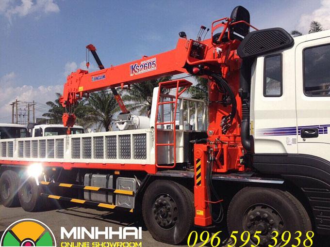 xe tải hyundai hd320 gắn cẩu kanglim 10 tấn ks2605