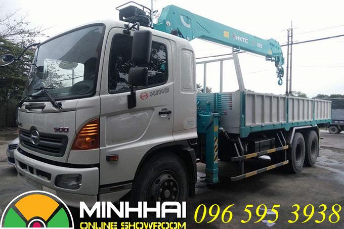 xe tải hino gắn cẩu hktc 7 tấn