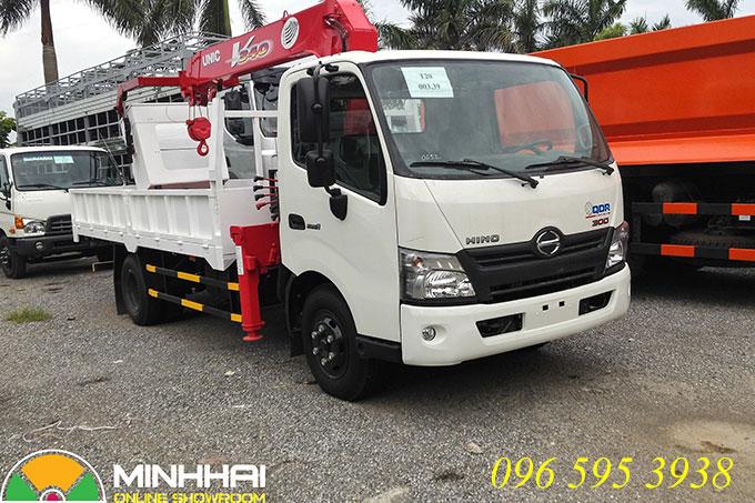 xe tải hino xzu730l gắn cẩu unic 3 tấn